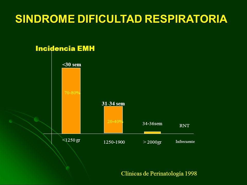 Incidencia EMH <30 sem 31-34 sem 34-36sem RNT <1250 gr 1250-1900> 2000gr Infrecuente 70-80% 20-40% Clínicas de Perinatología 1998 SINDROME DIFICULTAD RESPIRATORIA