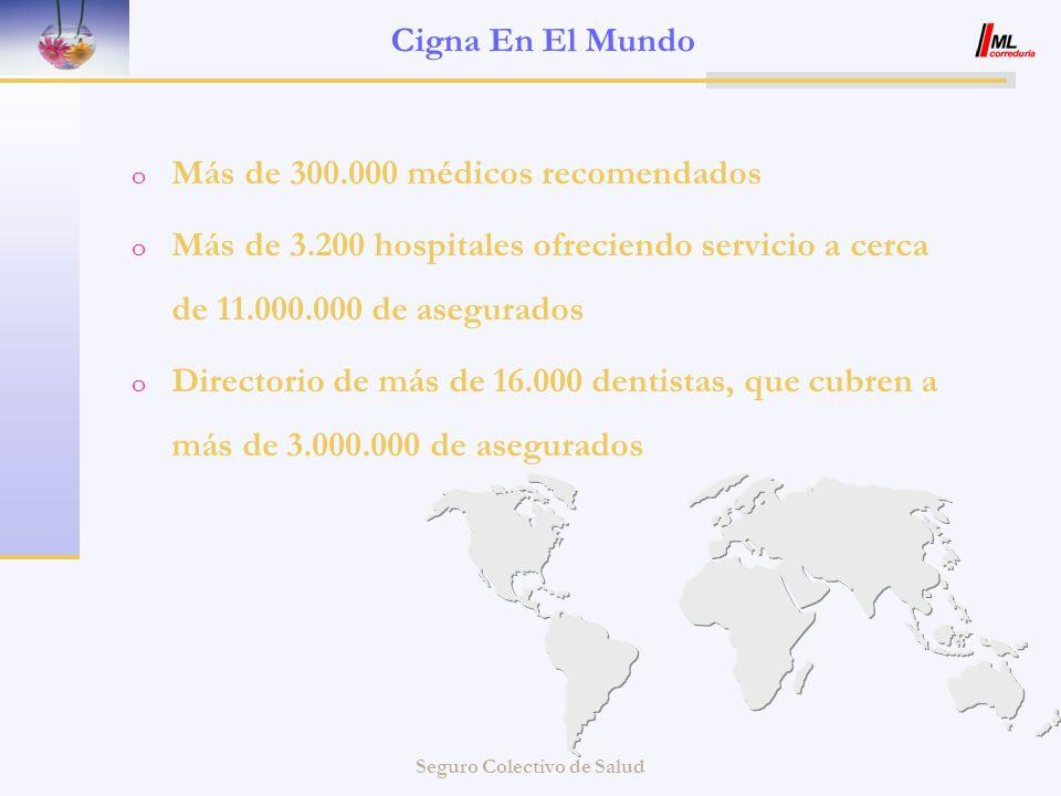 Seguro Colectivo de Salud Cigna En El Mundo o Más de 300.000 médicos recomendados o Más de 3.200 hospitales ofreciendo servicio a cerca de 11.000.000