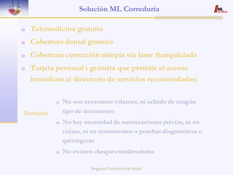 Seguro Colectivo de Salud Solución ML Correduria o Telemedicina gratuita o Cobertura dental gratuita o Cobertura corrección miopia via láser franquici