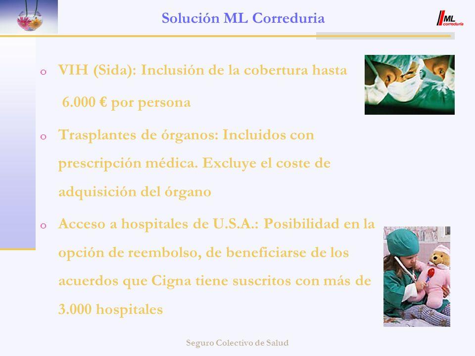 Seguro Colectivo de Salud Solución ML Correduria o VIH (Sida): Inclusión de la cobertura hasta 6.000 por persona o Trasplantes de órganos: Incluidos c