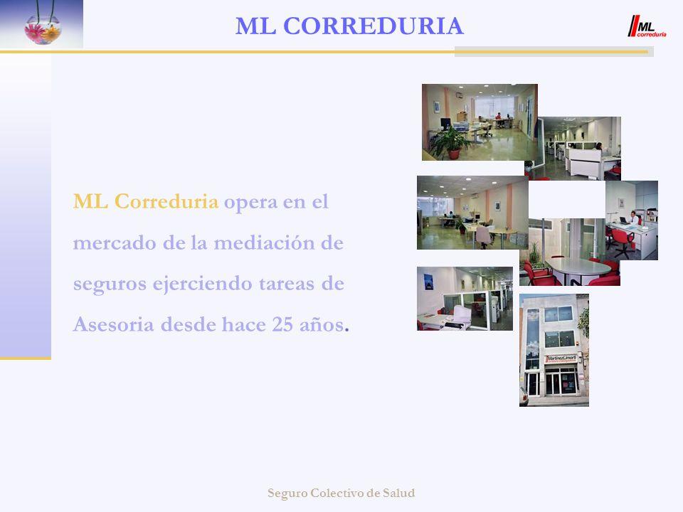 Seguro Colectivo de Salud ML CORREDURIA ML Correduria opera en el mercado de la mediación de seguros ejerciendo tareas de Asesoria desde hace 25 años.