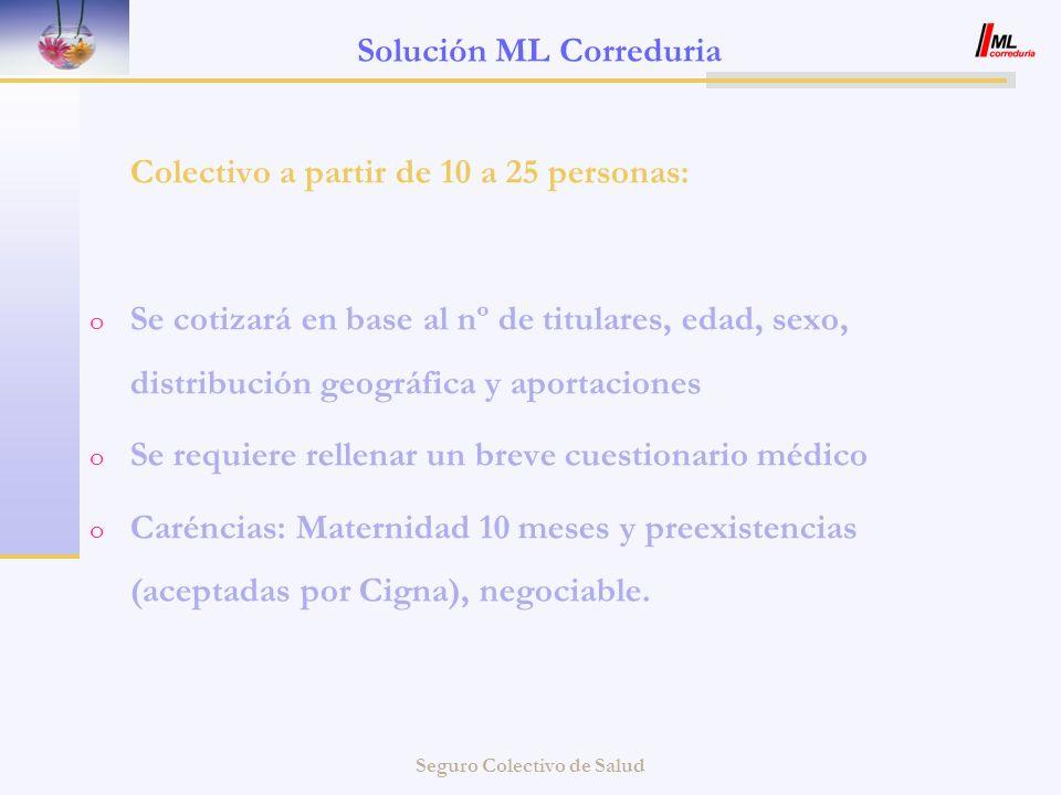 Seguro Colectivo de Salud Solución ML Correduria Colectivo a partir de 10 a 25 personas: o Se cotizará en base al nº de titulares, edad, sexo, distrib