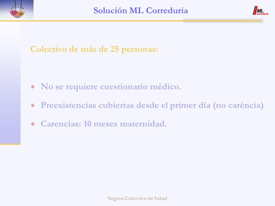 Seguro Colectivo de Salud Solución ML Correduria Colectivo de más de 25 personas: No se requiere cuestionario médico. Preexistencias cubiertas desde e