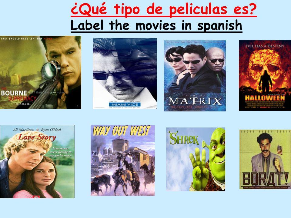 ¿Qué tipo de peliculas es? Label the movies in spanish
