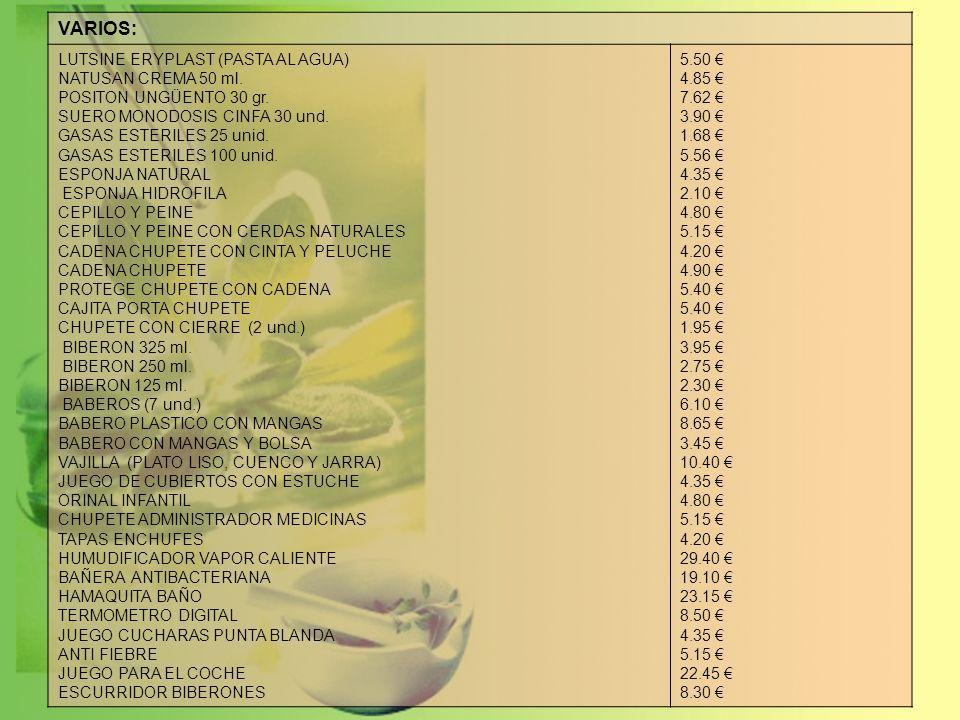 LECHES, PAPILLAS y POTITOS: NUTRIBEN NATAL CONTINUACION CRECIMIENTO 1 AR.