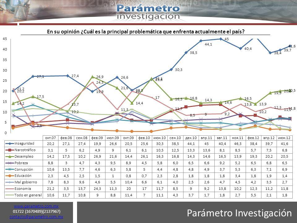 Parámetro Investigación www.parametro.com.mx 01722 (1670489)(2137967) contacto@parametro.com.mx contacto@parametro.com.mx 7 En su opinión ¿Cuál es la principal problemática que enfrenta actualmente el país