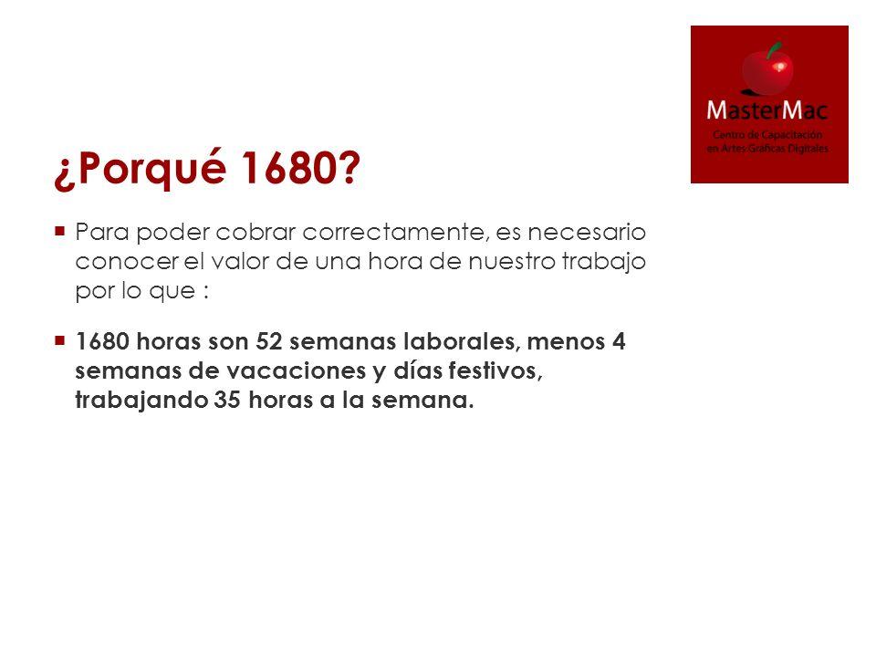 ¿Porqué 1680? Para poder cobrar correctamente, es necesario conocer el valor de una hora de nuestro trabajo por lo que : 1680 horas son 52 semanas lab
