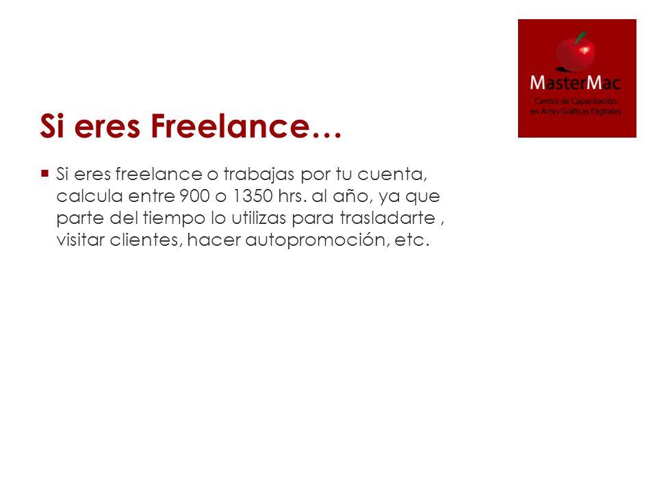 Si eres Freelance… Si eres freelance o trabajas por tu cuenta, calcula entre 900 o 1350 hrs. al año, ya que parte del tiempo lo utilizas para traslada