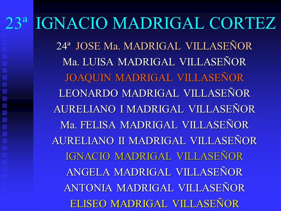 23ª IGNACIO MADRIGAL CORTEZ 24ª JOSE Ma. MADRIGAL VILLASEÑOR Ma. LUISA MADRIGAL VILLASEÑOR JOAQUIN MADRIGAL VILLASEÑOR LEONARDO MADRIGAL VILLASEÑOR AU