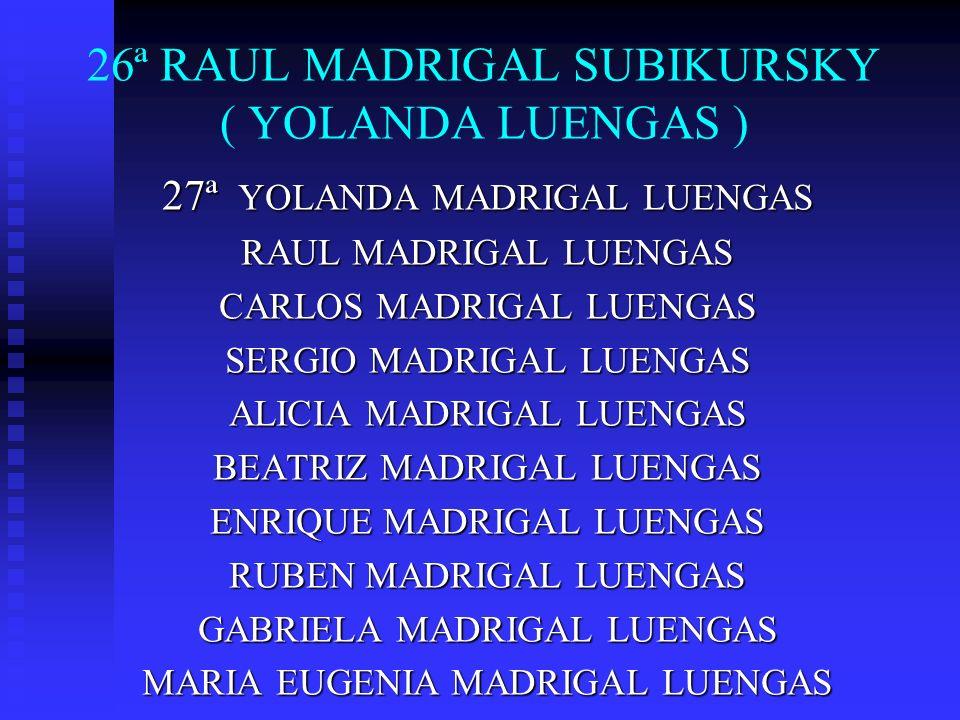 26ª RAUL MADRIGAL SUBIKURSKY ( YOLANDA LUENGAS ) 27ª YOLANDA MADRIGAL LUENGAS RAUL MADRIGAL LUENGAS CARLOS MADRIGAL LUENGAS SERGIO MADRIGAL LUENGAS AL