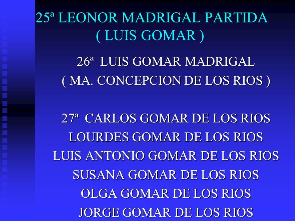 25ª LEONOR MADRIGAL PARTIDA ( LUIS GOMAR ) 26ª LUIS GOMAR MADRIGAL ( MA. CONCEPCION DE LOS RIOS ) 27ª CARLOS GOMAR DE LOS RIOS LOURDES GOMAR DE LOS RI
