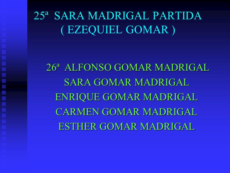 25ª SARA MADRIGAL PARTIDA ( EZEQUIEL GOMAR ) 26ª ALFONSO GOMAR MADRIGAL 26ª ALFONSO GOMAR MADRIGAL SARA GOMAR MADRIGAL ENRIQUE GOMAR MADRIGAL CARMEN G