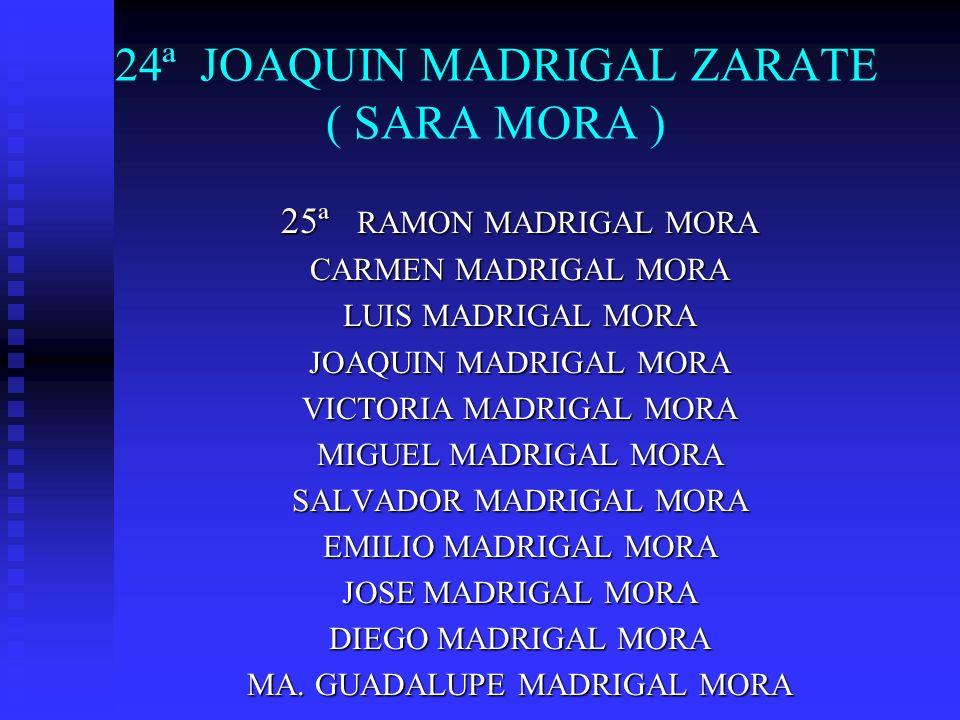 24ª JOAQUIN MADRIGAL ZARATE ( SARA MORA ) 25ª RAMON MADRIGAL MORA CARMEN MADRIGAL MORA LUIS MADRIGAL MORA JOAQUIN MADRIGAL MORA VICTORIA MADRIGAL MORA