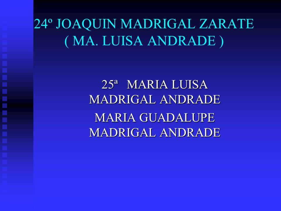 24º JOAQUIN MADRIGAL ZARATE ( MA. LUISA ANDRADE ) 25ª MARIA LUISA MADRIGAL ANDRADE MARIA GUADALUPE MADRIGAL ANDRADE