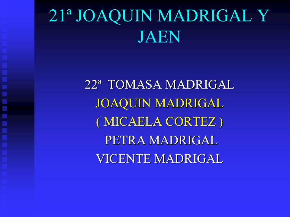22ª JOAQUIN MADRIGAL 23ª LEONARDO MADRIGAL CORTEZ ( AVELINA BRAVO ) GERTRUDIS MADRIGAL CORTEZ Ma..FRANCISCA MADRIGAL CORTEZ VICTORIA MADRIGAL CORTEZ PASCUAL MADRIGAL CORTEZ IGNACIO MADRIGAL CORTEZ ( Ma.