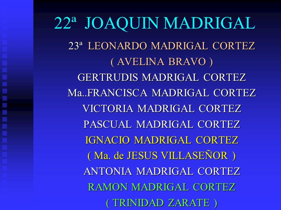 22ª JOAQUIN MADRIGAL 23ª LEONARDO MADRIGAL CORTEZ ( AVELINA BRAVO ) GERTRUDIS MADRIGAL CORTEZ Ma..FRANCISCA MADRIGAL CORTEZ VICTORIA MADRIGAL CORTEZ P