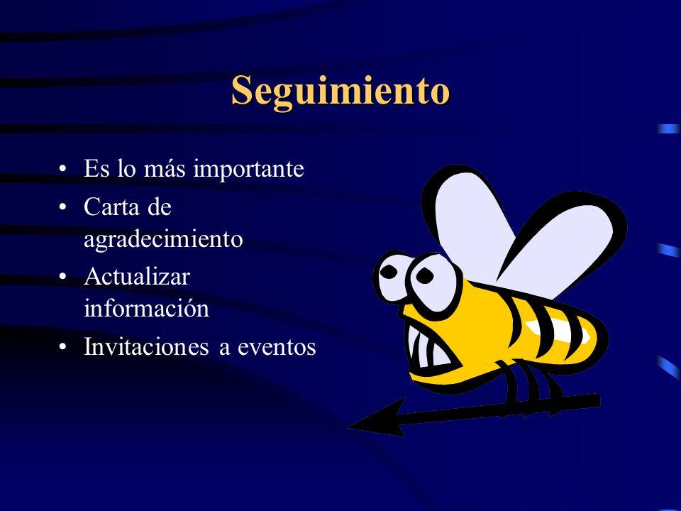 Seguimiento Es lo más importante Carta de agradecimiento Actualizar información Invitaciones a eventos
