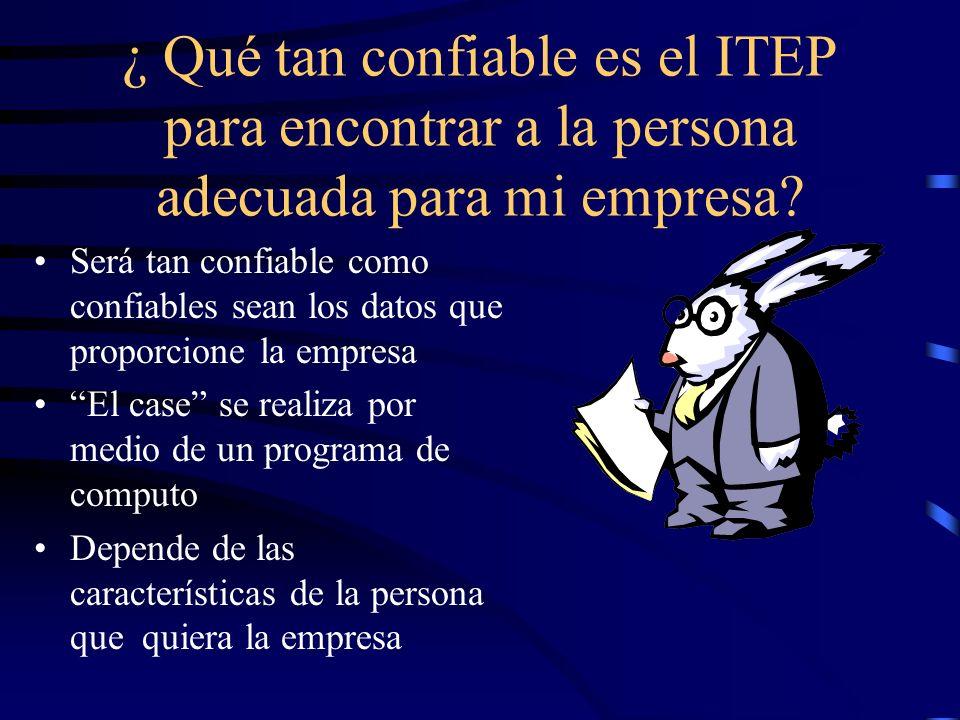 ¿ Qué tan confiable es el ITEP para encontrar a la persona adecuada para mi empresa.