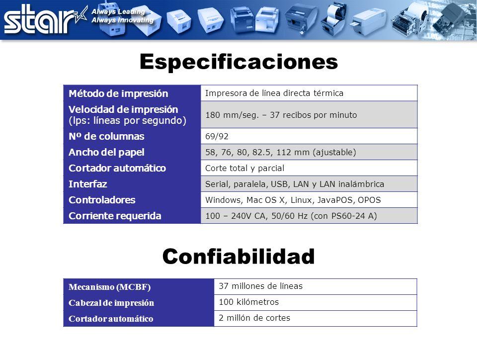Especificaciones Mecanismo (MCBF) 37 millones de líneas Cabezal de impresión 100 kilómetros Cortador automático 2 millón de cortes Método de impresión
