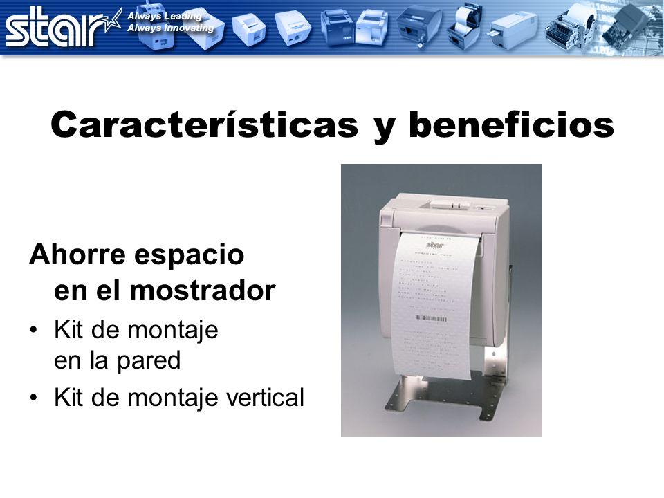 Características y beneficios Ahorre espacio en el mostrador Kit de montaje en la pared Kit de montaje vertical