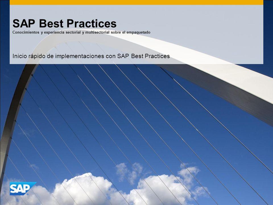 SAP Best Practices Conocimientos y experiencia sectorial y multisectorial sobre el empaquetado Inicio rápido de implementaciones con SAP Best Practice