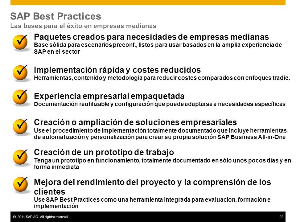 ©2011 SAP AG. All rights reserved.22 SAP Best Practices Las bases para el éxito en empresas medianas Paquetes creados para necesidades de empresas med