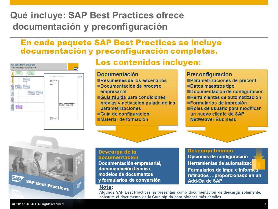 ©2011 SAP AG. All rights reserved.7 Qué incluye: SAP Best Practices ofrece documentación y preconfiguración Documentación Resúmenes de los escenarios