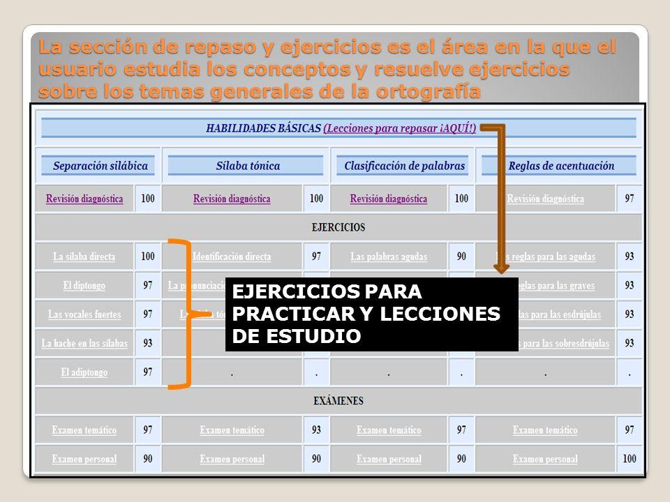La sección de repaso y ejercicios es el área en la que el usuario estudia los conceptos y resuelve ejercicios sobre los temas generales de la ortograf