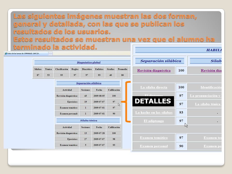 Las siguientes imágenes muestran las dos forman, general y detallada, con las que se publican los resultados de los usuarios. Estos resultados se mues