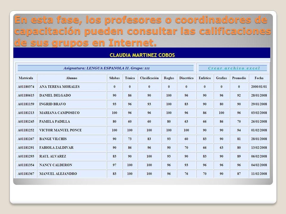 En esta fase, los profesores o coordinadores de capacitación pueden consultar las calificaciones de sus grupos en Internet.