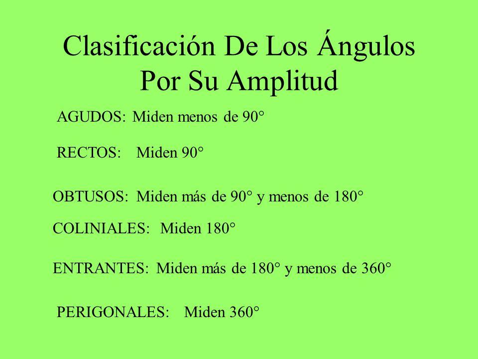 Clasificación De Los Ángulos Por Su Amplitud AGUDOS: RECTOS: OBTUSOS: COLINIALES: ENTRANTES: PERIGONALES: Miden menos de 90° Miden 90° Miden más de 90° y menos de 180° Miden 180° Miden más de 180° y menos de 360° Miden 360°