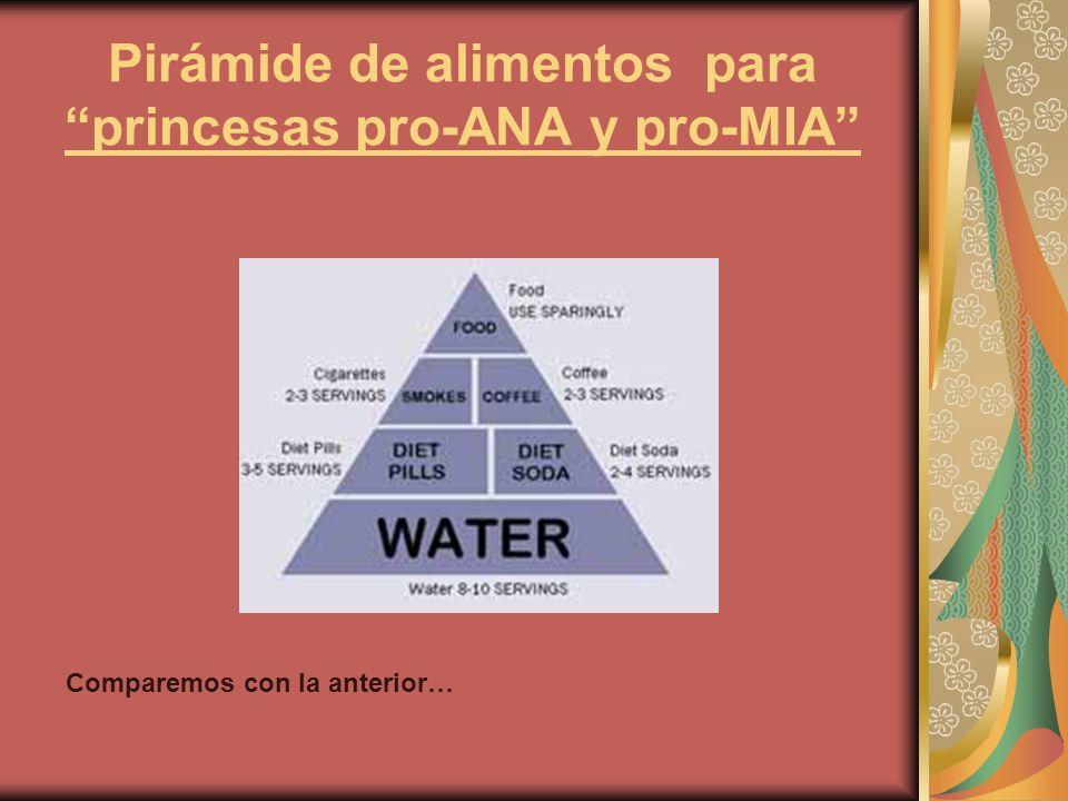 Pirámide de alimentos para princesas pro-ANA y pro-MIA Comparemos con la anterior…