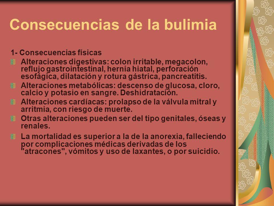 Consecuencias de la bulimia 1- Consecuencias físicas Alteraciones digestivas: colon irritable, megacolon, reflujo gastrointestinal, hernia hiatal, per