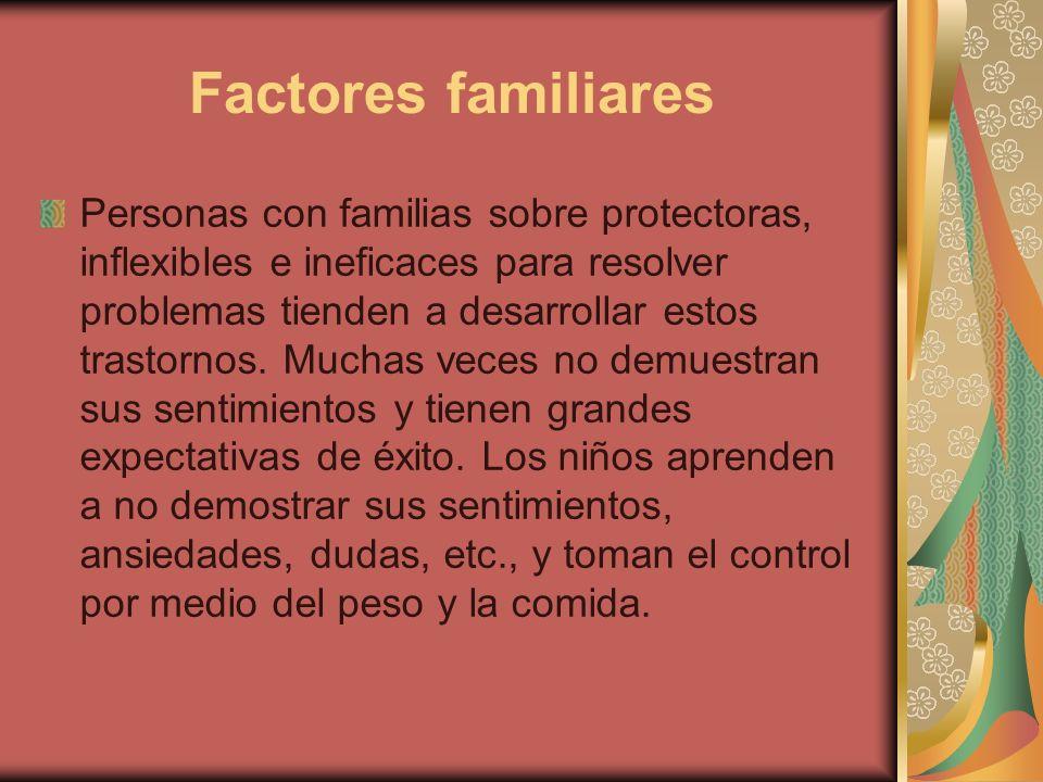 Factores familiares Personas con familias sobre protectoras, inflexibles e ineficaces para resolver problemas tienden a desarrollar estos trastornos.