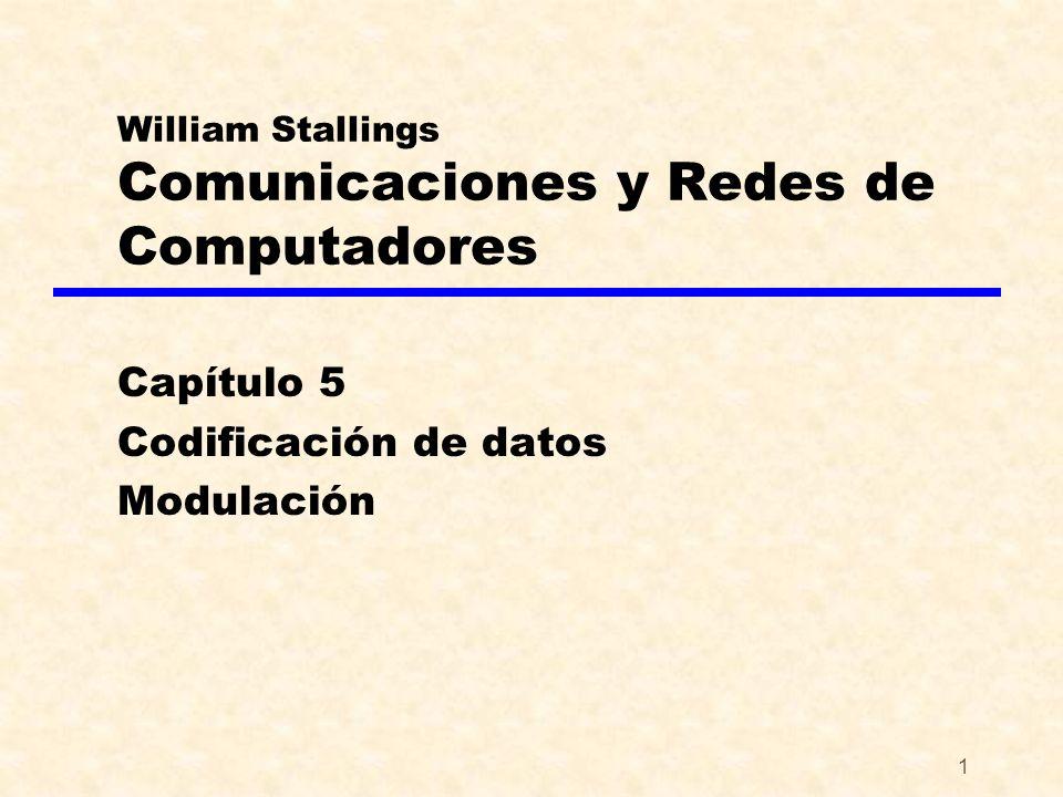 1 William Stallings Comunicaciones y Redes de Computadores Capítulo 5 Codificación de datos Modulación