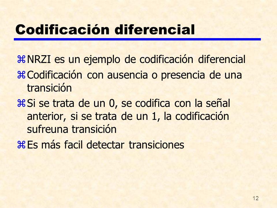 12 Codificación diferencial zNRZI es un ejemplo de codificación diferencial zCodificación con ausencia o presencia de una transición zSi se trata de u