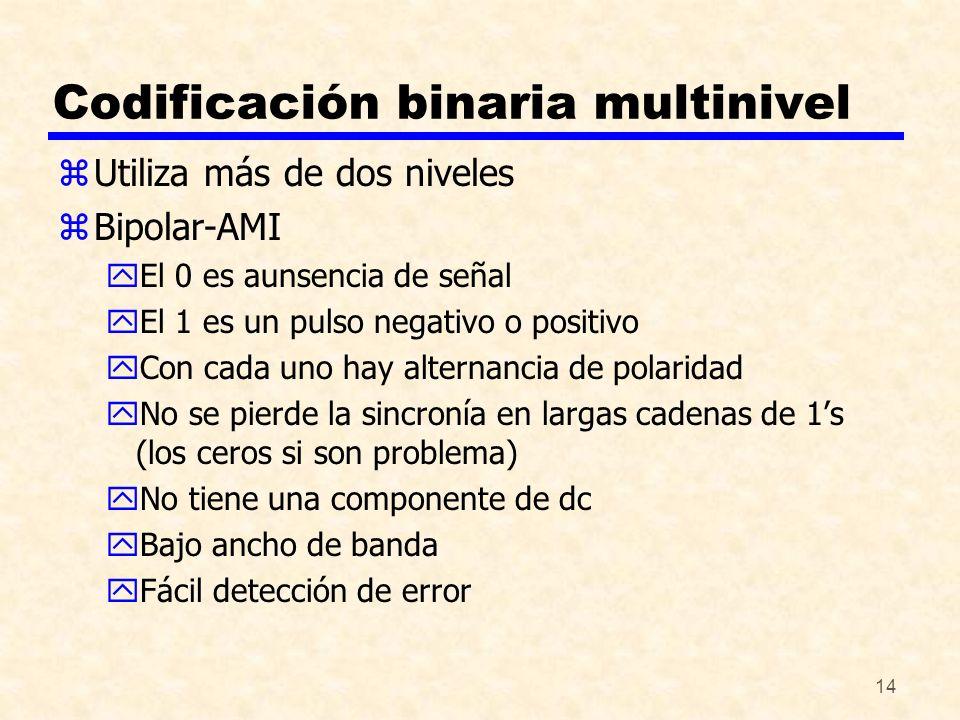 14 Codificación binaria multinivel zUtiliza más de dos niveles zBipolar-AMI yEl 0 es aunsencia de señal yEl 1 es un pulso negativo o positivo yCon cad