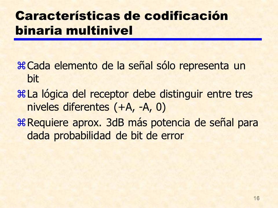 16 Características de codificación binaria multinivel zCada elemento de la señal sólo representa un bit zLa lógica del receptor debe distinguir entre