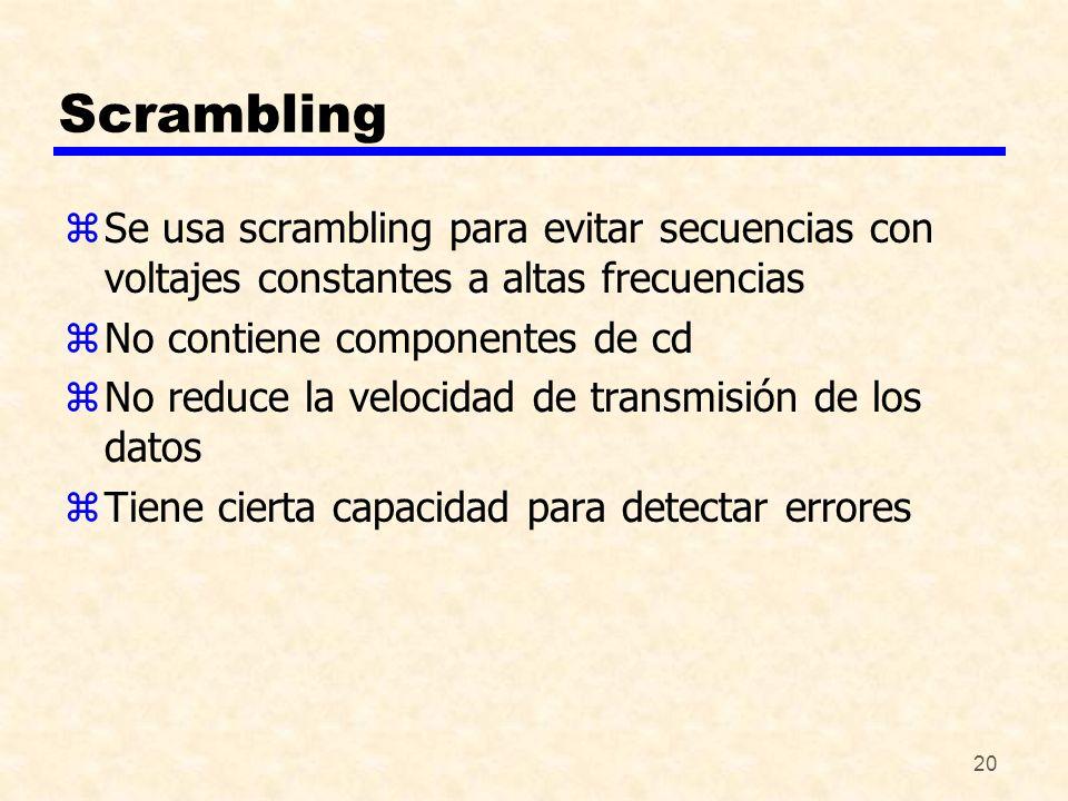 20 Scrambling zSe usa scrambling para evitar secuencias con voltajes constantes a altas frecuencias zNo contiene componentes de cd zNo reduce la veloc