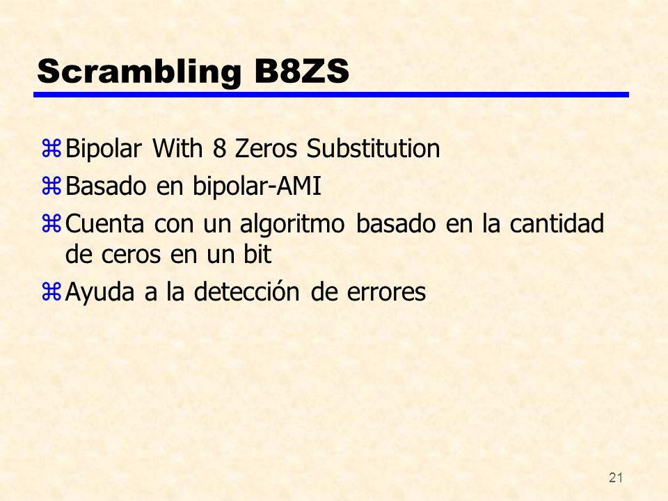 21 Scrambling B8ZS zBipolar With 8 Zeros Substitution zBasado en bipolar-AMI zCuenta con un algoritmo basado en la cantidad de ceros en un bit zAyuda