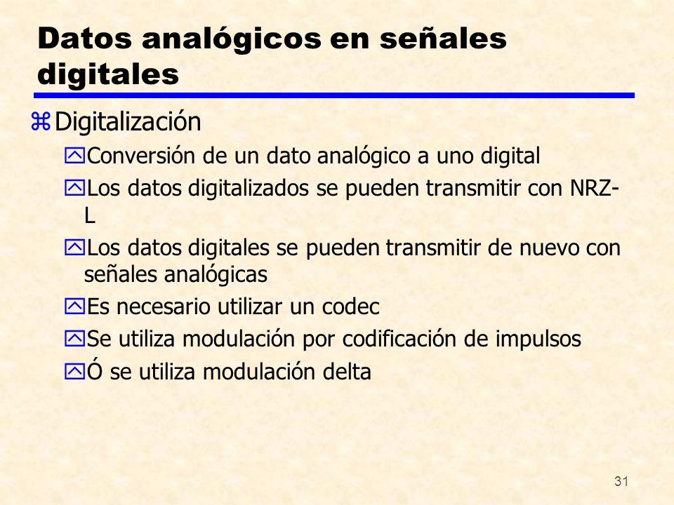 31 Datos analógicos en señales digitales zDigitalización yConversión de un dato analógico a uno digital yLos datos digitalizados se pueden transmitir