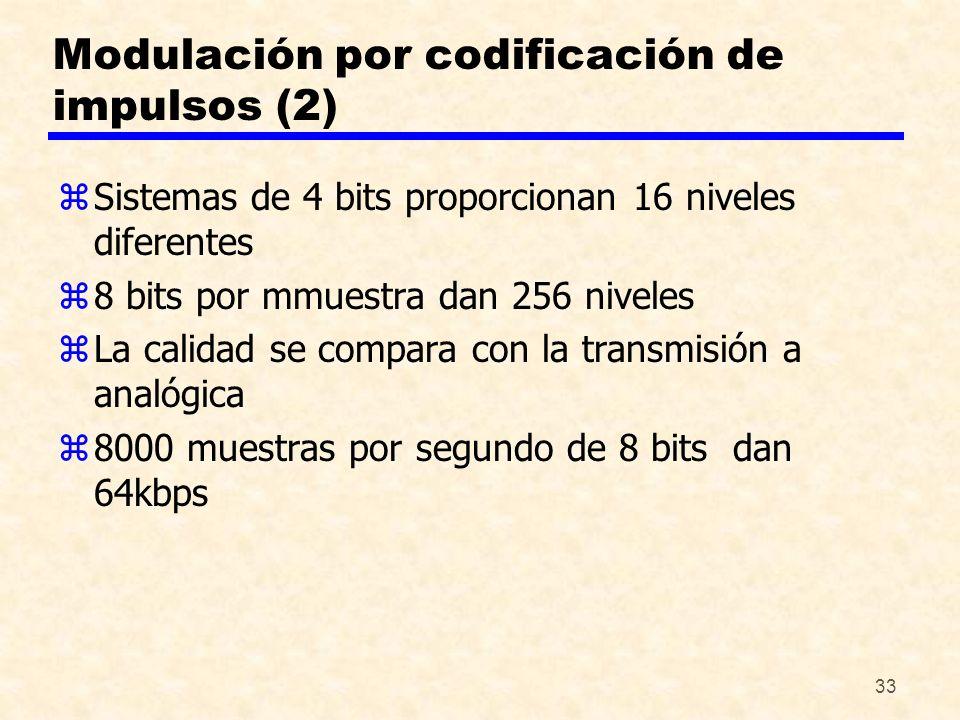 33 Modulación por codificación de impulsos (2) zSistemas de 4 bits proporcionan 16 niveles diferentes z8 bits por mmuestra dan 256 niveles zLa calidad
