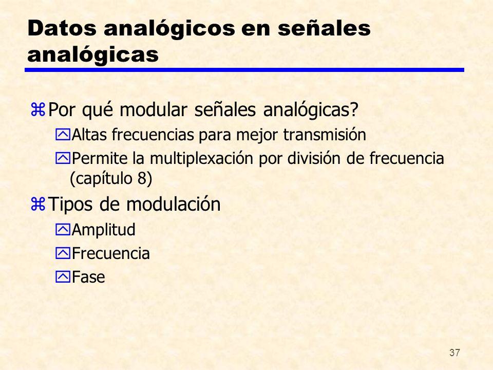 37 Datos analógicos en señales analógicas zPor qué modular señales analógicas? yAltas frecuencias para mejor transmisión yPermite la multiplexación po