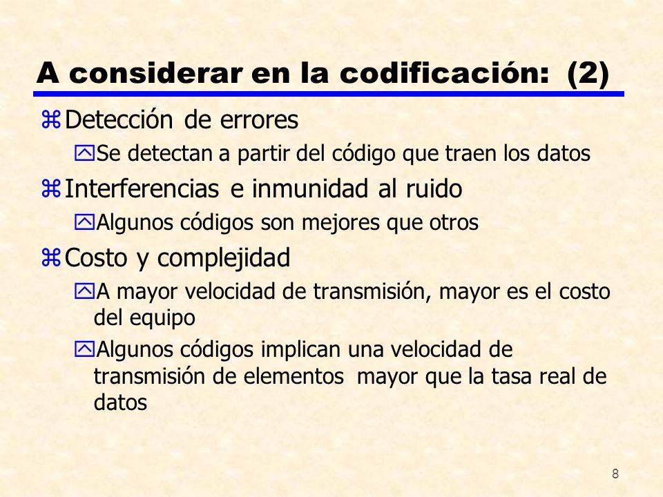 8 A considerar en la codificación: (2) zDetección de errores ySe detectan a partir del código que traen los datos zInterferencias e inmunidad al ruido
