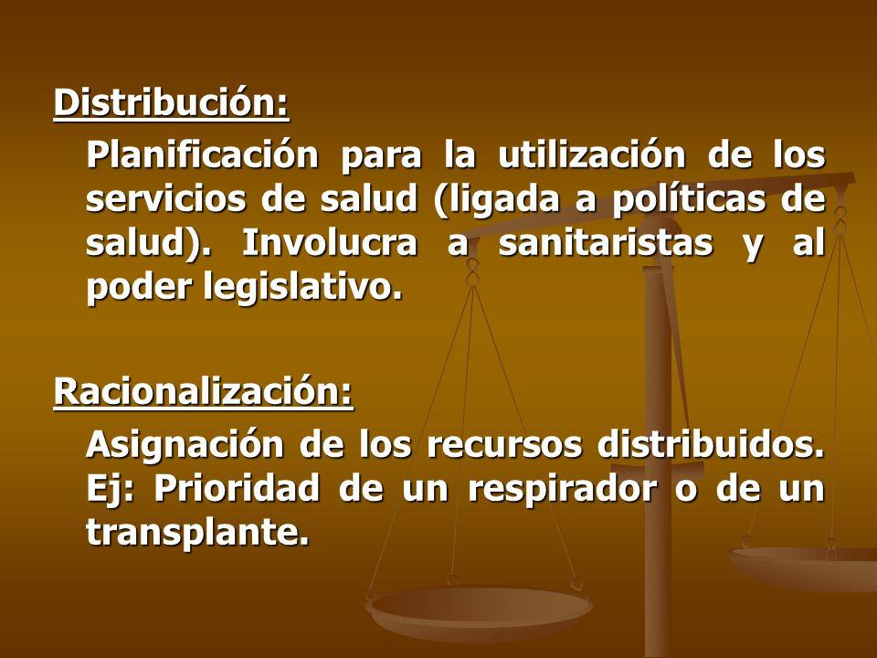 Distribución: Planificación para la utilización de los servicios de salud (ligada a políticas de salud).