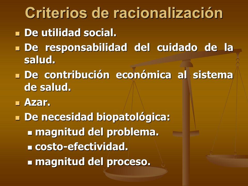 Criterios de racionalización De utilidad social. De utilidad social.