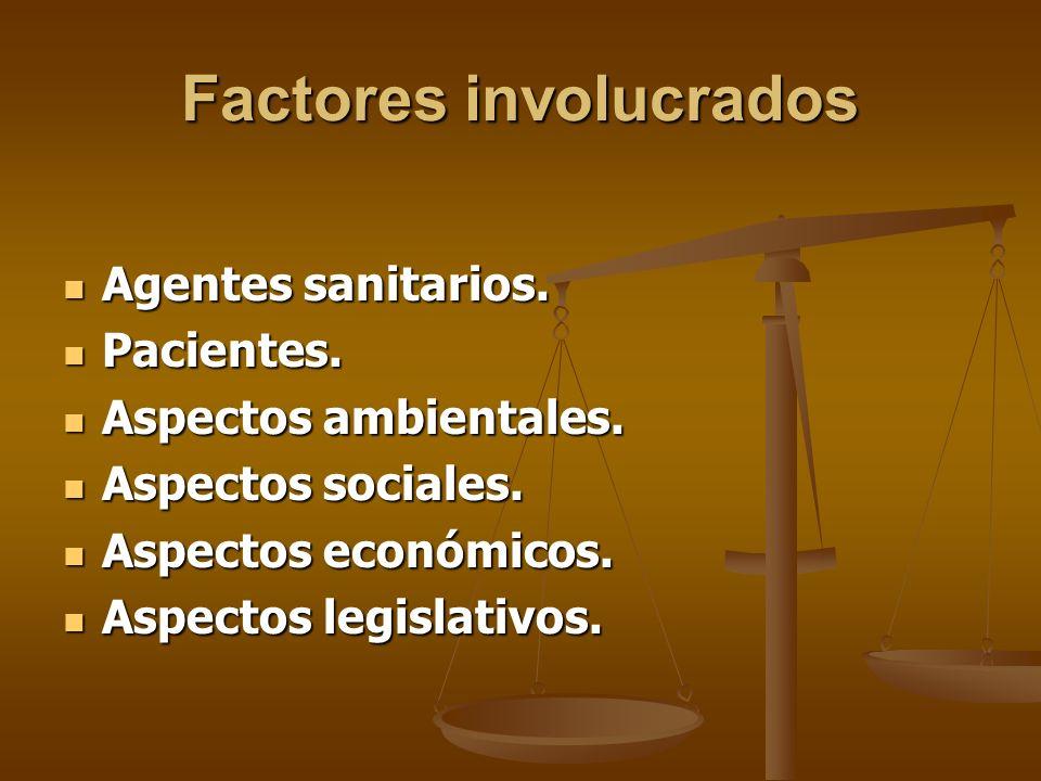 Factores involucrados Agentes sanitarios. Agentes sanitarios.