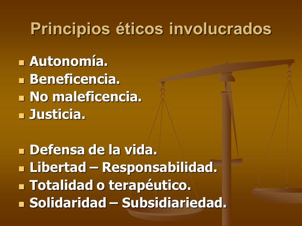 Principios éticos involucrados Autonomía. Autonomía.
