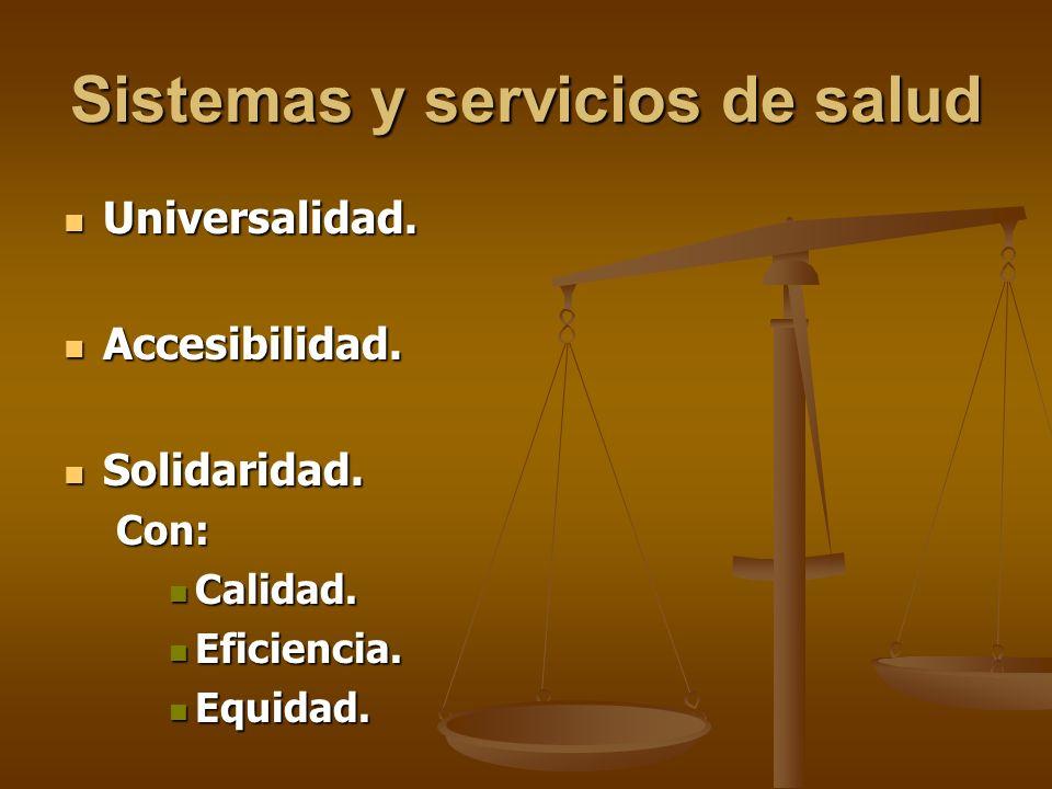 Sistemas y servicios de salud Universalidad. Universalidad.