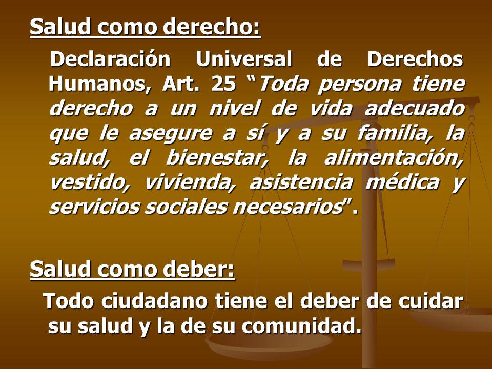 Salud como derecho: Declaración Universal de Derechos Humanos, Art.
